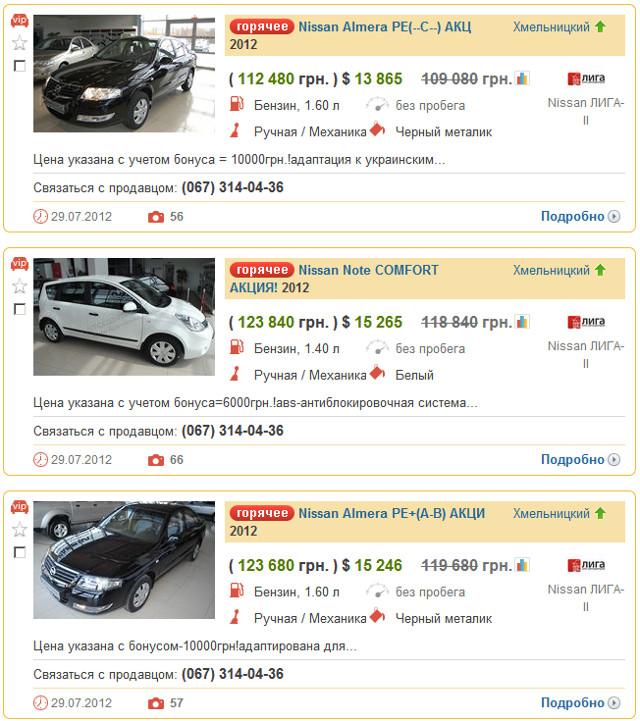 Вид стандартной поисковый выдачи на AUTO.RIA